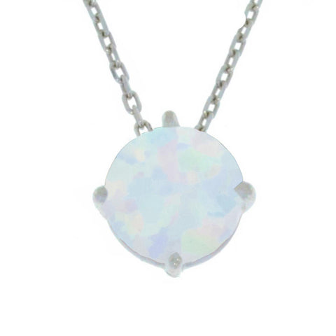 14Kt Gold Opal Round Pendant Necklace