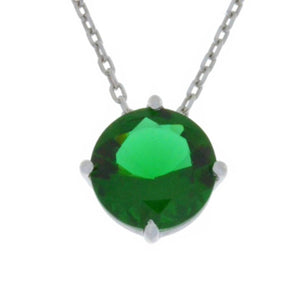 14Kt Gold Emerald Round Pendant Necklace