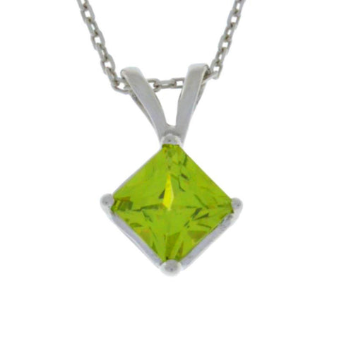 14Kt Gold Peridot Princess Cut Pendant Necklace