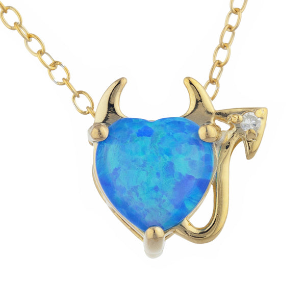 Blue Opal & Diamond Devil Heart Pendant 14Kt Yellow Gold Silver