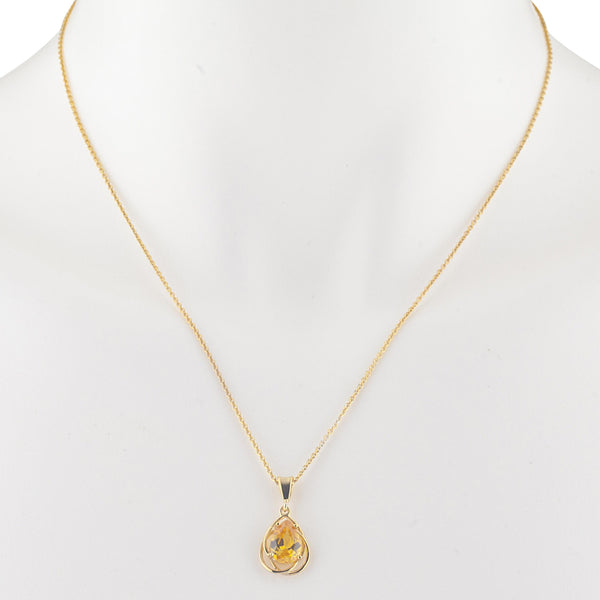 14Kt Yellow Gold Plated Yellow Citrine Pear Teardrop Design Pendant