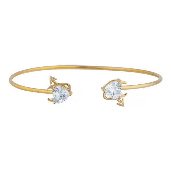 Zirconia & Diamond Devil Heart Bangle Bracelet 14Kt Yellow Gold Rose Gold Silver