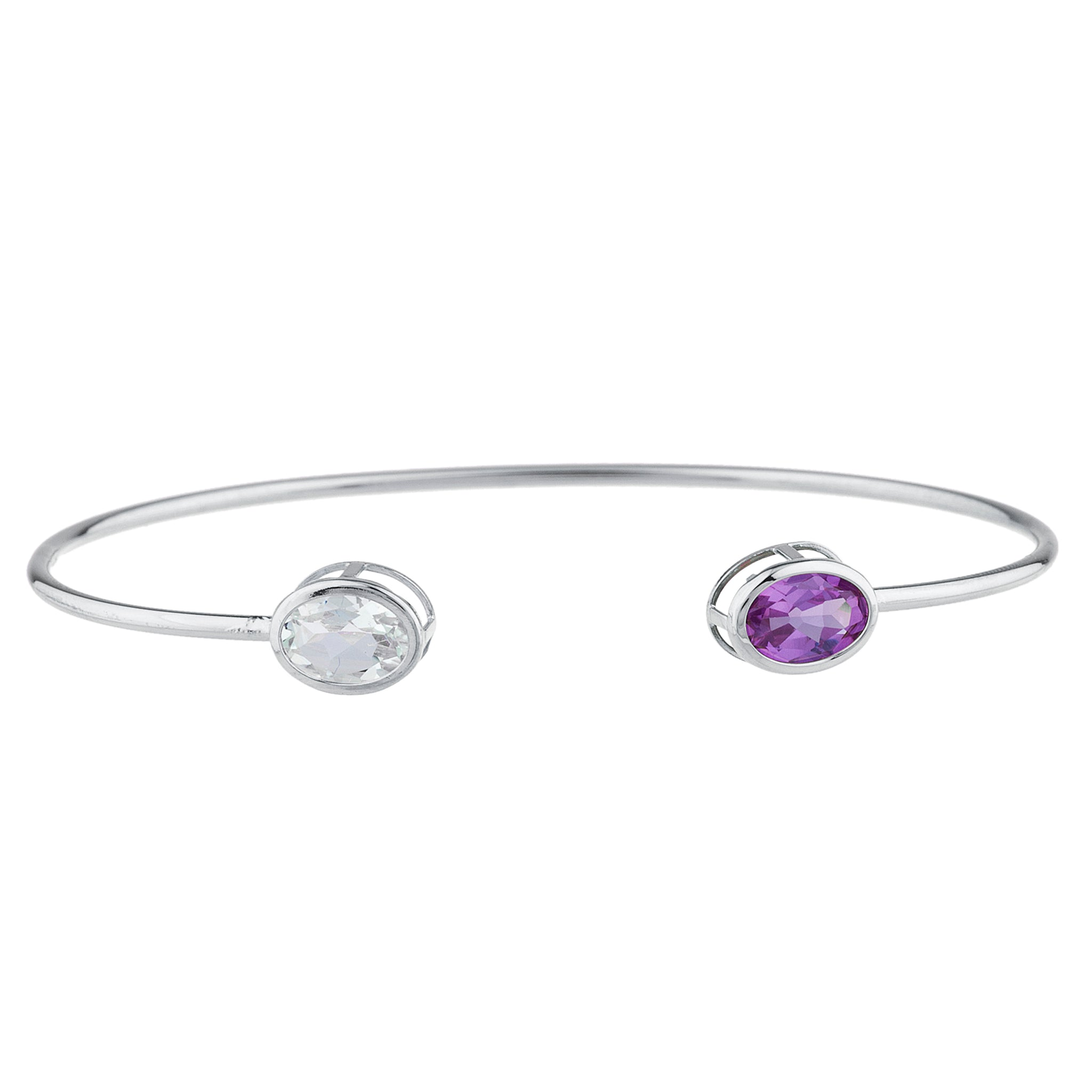 Aquamarine & Alexandrite Oval Bezel Bangle Bracelet .925 Sterling Silver