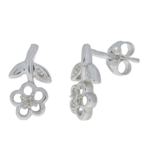 Natural Diamond Flower Stud Earrings .925 Sterling Silver
