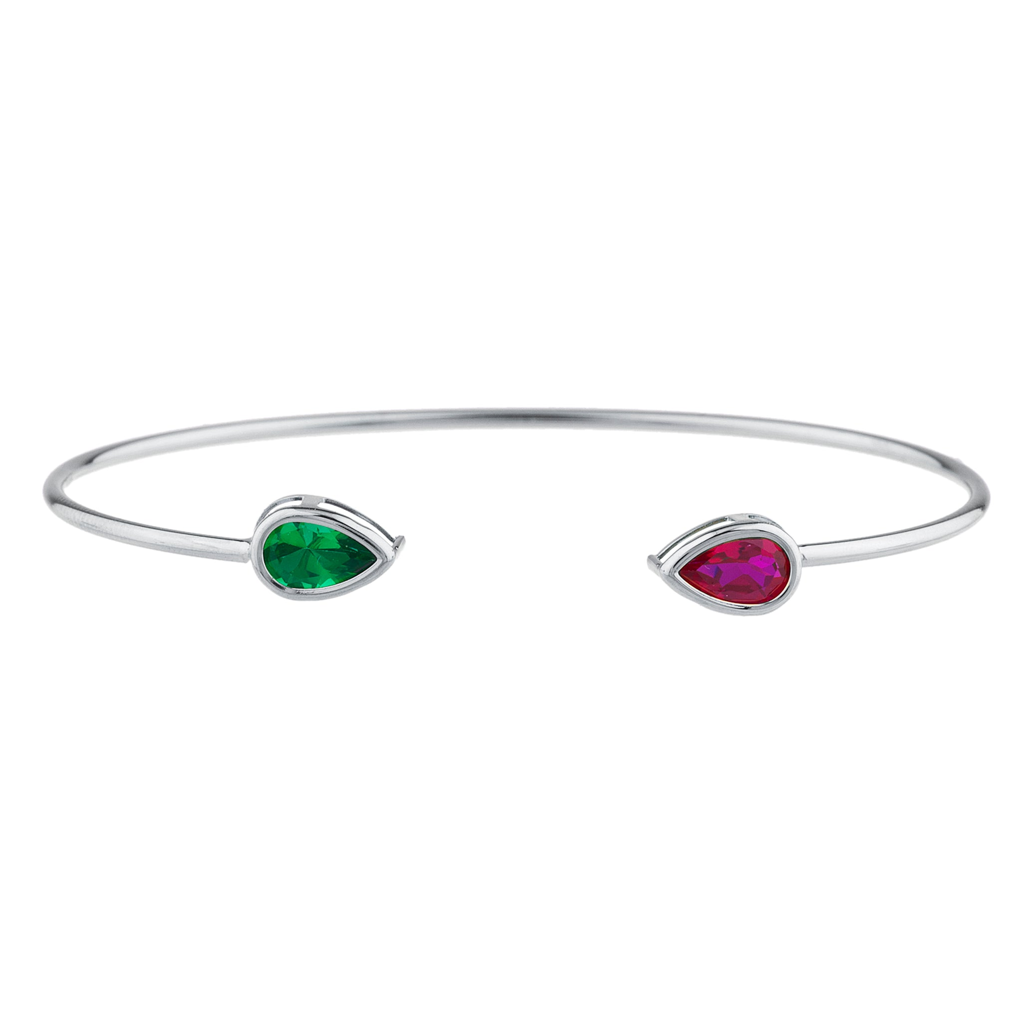 Created Ruby & Emerald Pear Bezel Bangle Bracelet .925 Sterling Silver