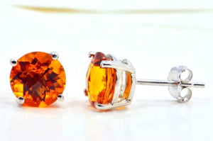 2 Carat Citrine Round Stud Earrings .925 Sterling Silver