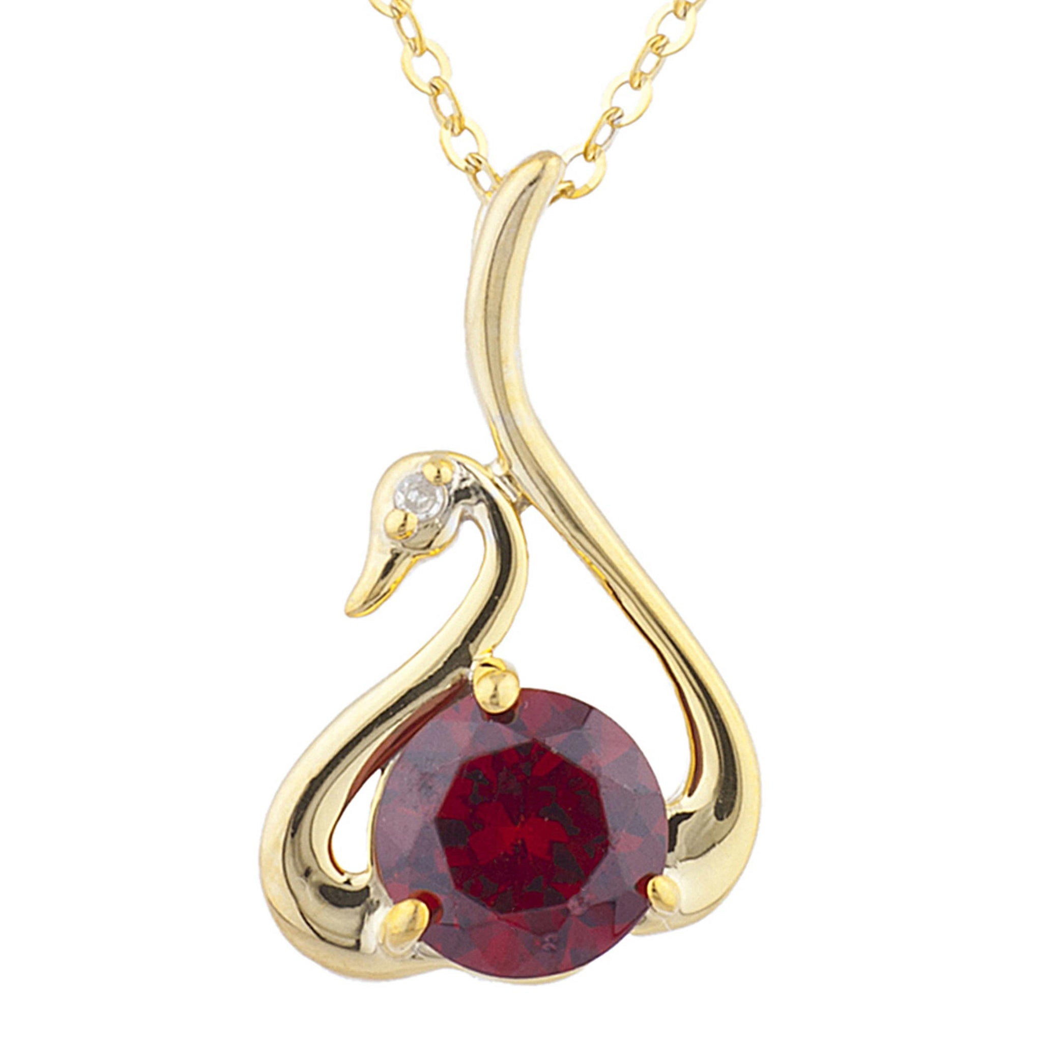 14Kt Yellow Gold Plated Garnet & Diamond Swan Pendant