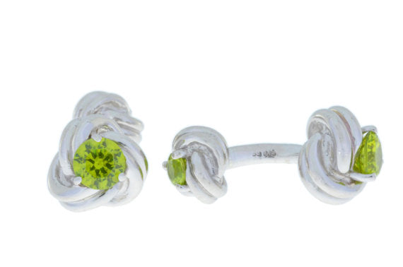 2.5 Ct Peridot Knot Cufflinks Rhodium Plated