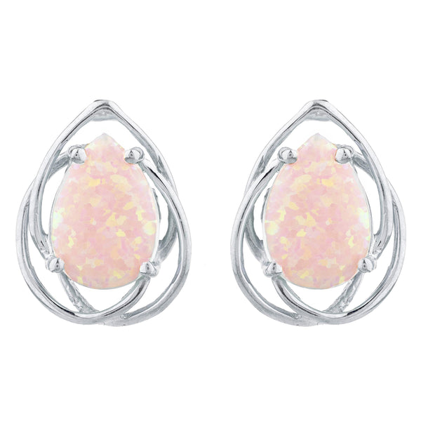 Pink Opal Pear Teardrop Design Stud Earrings .925 Sterling Silver