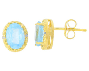 2 Ct Blue Topaz & Diamond Oval Stud Earrings 14Kt Yellow Gold Plated