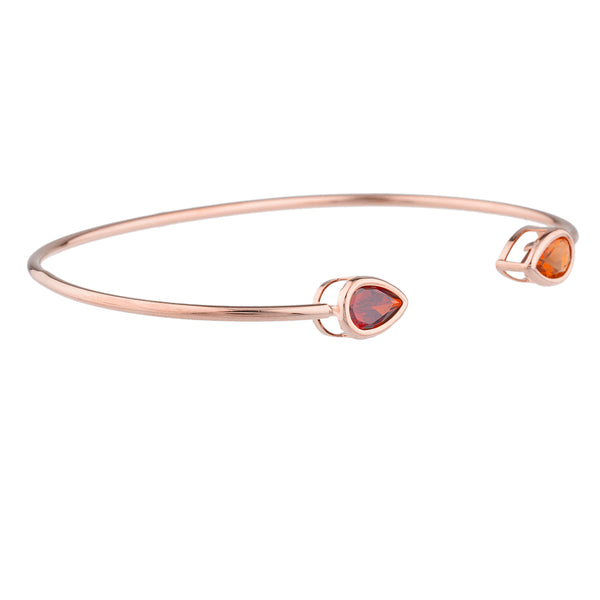 Orange Citrine & Garnet Pear Bezel Bangle Bracelet 14Kt Rose Gold Plated Over .925 Sterling Silver