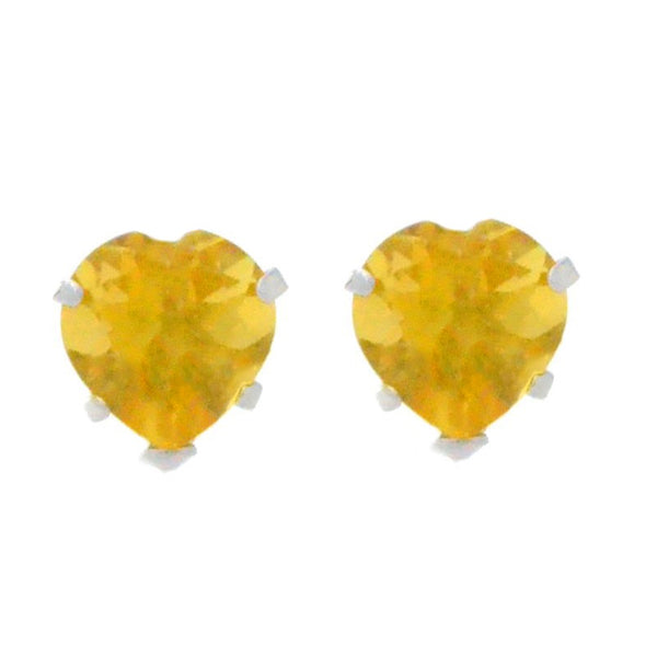 14Kt White Gold Citrine Heart Stud Earrings