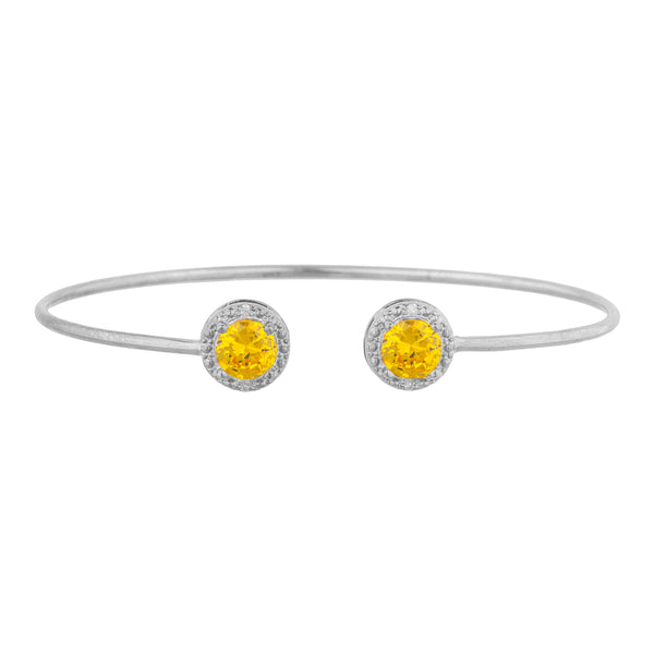 2 Ct Yellow Citrine & Diamond Round Bangle Bracelet .925 Sterling Silver