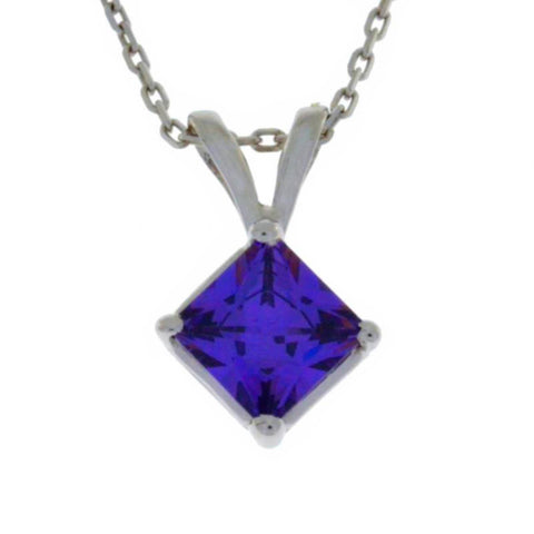 14Kt Gold Amethyst Princess Cut Pendant Necklace