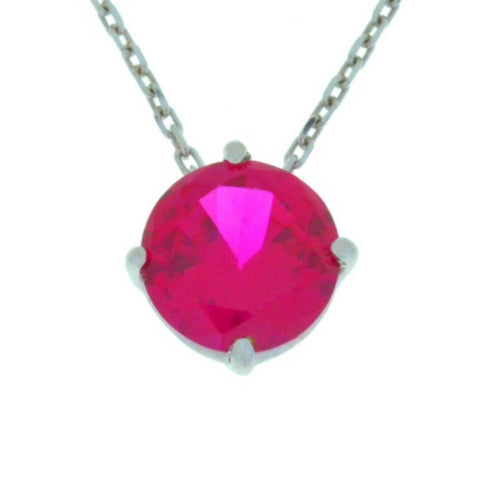 14Kt Gold Created Ruby Round Pendant Necklace