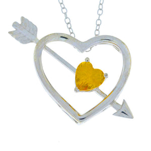 Citrine Heart Bow & Arrow Pendant .925 Sterling Silver Rhodium Finish