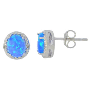 Blue Opal & Diamond Round Stud Earrings 14Kt White Gold