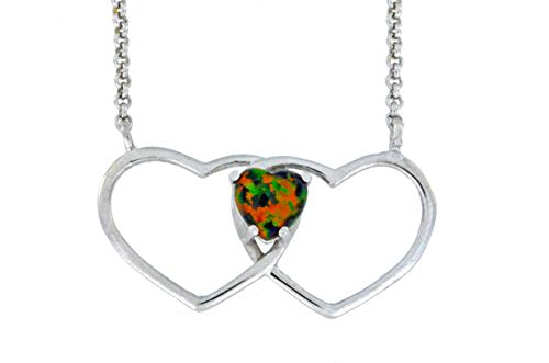 6mm Black Opal Double Heart Pendant .925 Sterling Silver Rhodium Finish