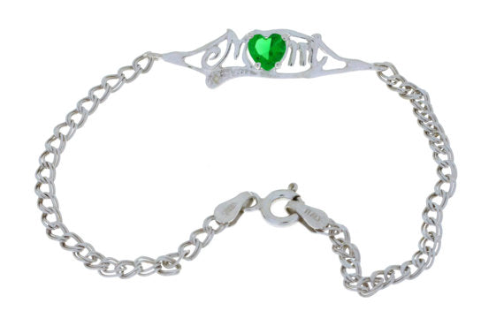 0.50 Ct Emerald & Diamond Heart Mom Bracelet .925 Sterling Silver