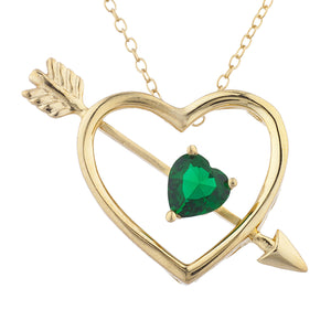 14Kt Yellow Gold Plated Emerald Heart Bow & Arrow Pendant