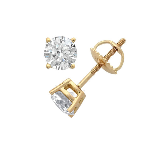 14Kt Yellow Gold 1 Genuine Natural Diamond Round Stud Earrings (I3)