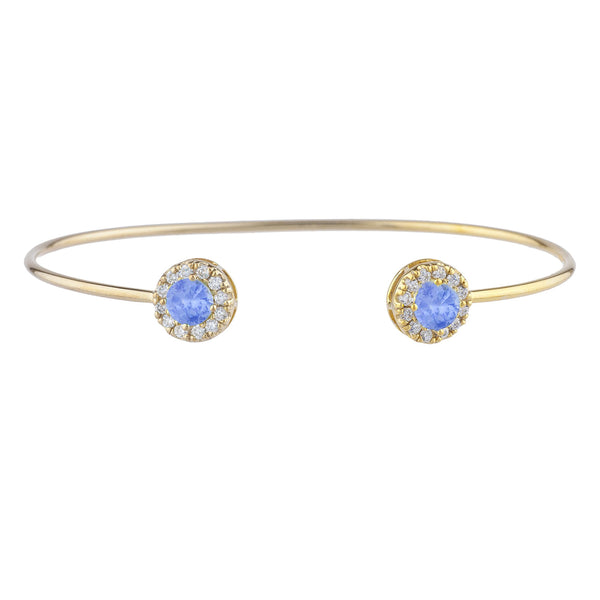 1 Ct Tanzanite Halo Design Round Bangle Bracelet 14Kt Yellow Gold Rose Gold Silver