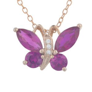14Kt Rose Gold Plated Created Ruby Butterfly Pendant
