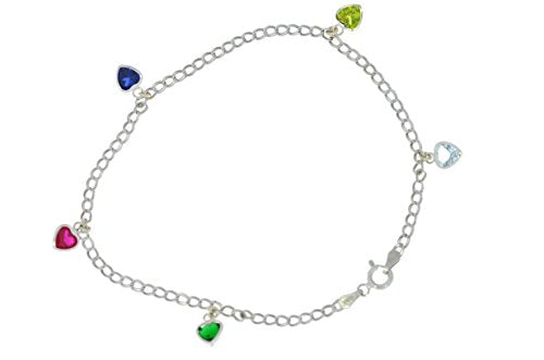 5 Ct Gemstones Heart Bezel Ankle Bracelet .925 Sterling Silver Rhodium Finish