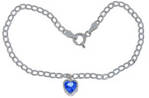 1 Carat Tanzanite Heart Bezel Bracelet .925 Sterling Silver Rhodium Finish