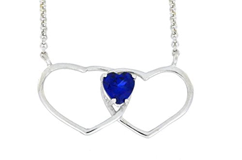 1 Ct Created Blue Sapphire Double Heart Pendant .925 Sterling Silver Rhodium Finish