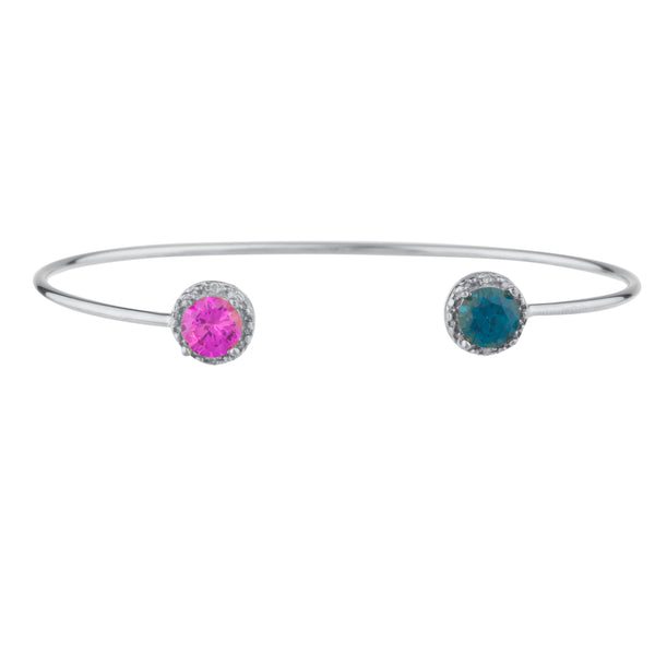 Pink Sapphire & London Blue Topaz Diamond Bangle Round Bracelet .925 Sterling Silver Rhodium Finish