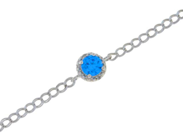 1 Ct Swiss Blue Topaz & Diamond Round Bracelet .925 Sterling Silver