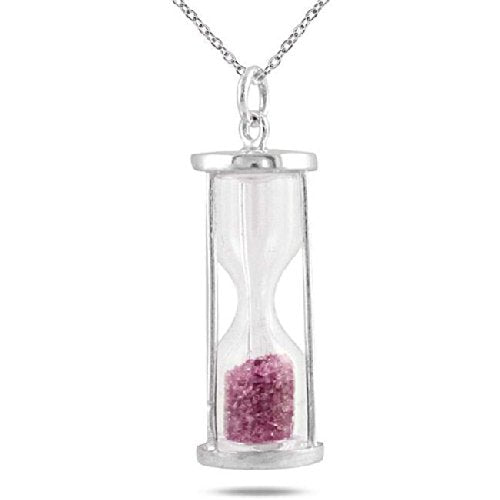 Natural Pink Tourmaline 0.75 Ct 'Time in Bottle' Dust Hourglass Pendant .925 Sterling Silver