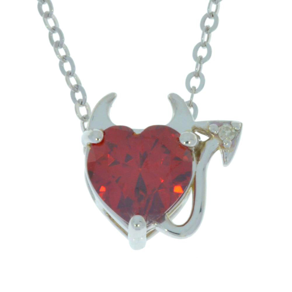 1.5 Ct Garnet & Diamond Devil Heart Pendant .925 Sterling Silver