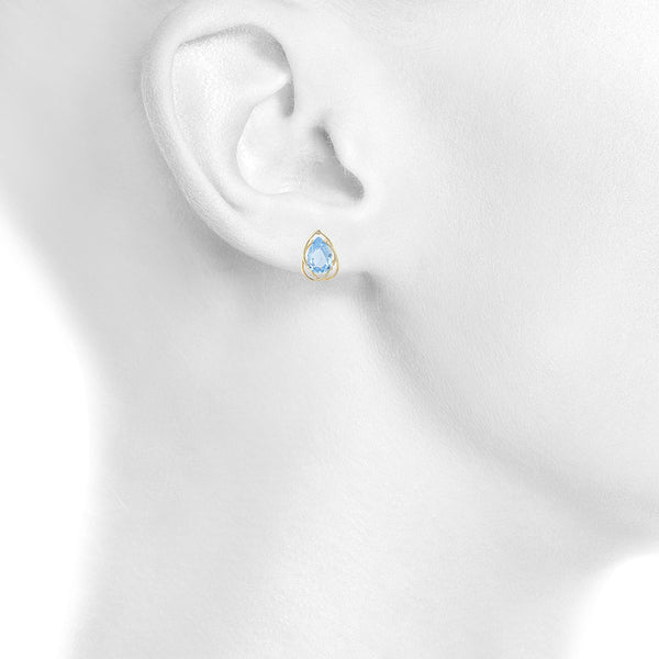 14Kt Yellow Gold Plated Blue Topaz Pear Teardrop Design Stud Earrings