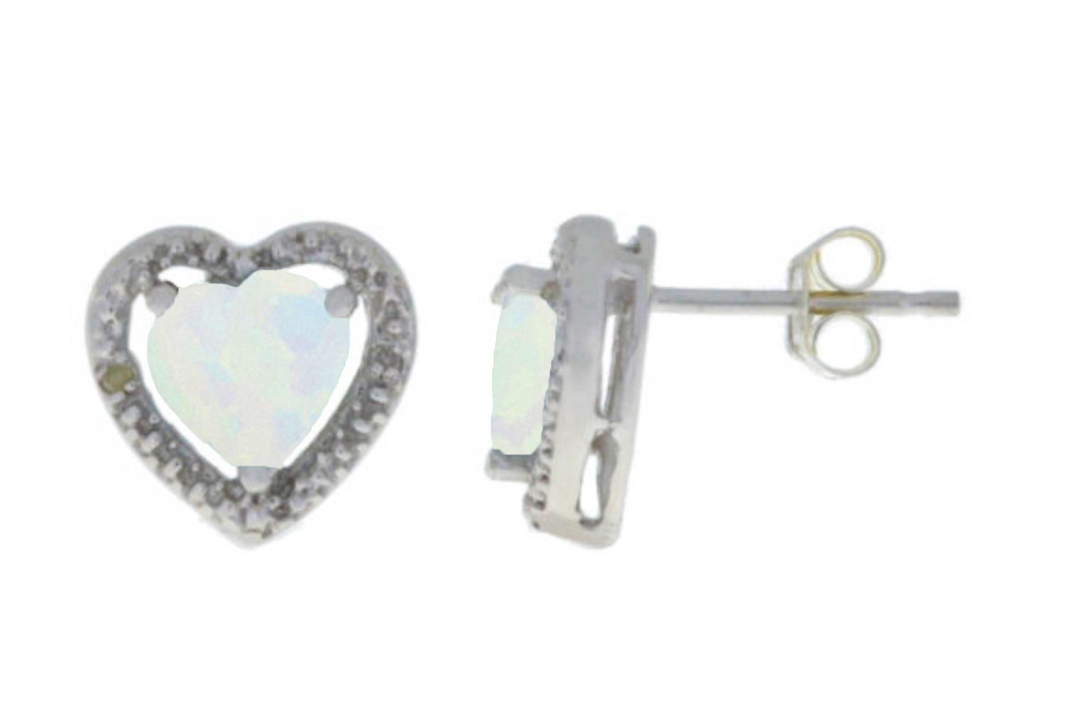 Opal & Diamond Heart Stud Earrings .925 Sterling Silver