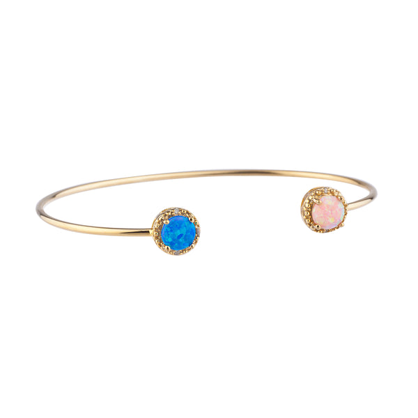 Blue Opal & Pink Opal Diamond Bangle Round Bracelet 14Kt Yellow Gold Plated Over .925 Sterling Silver