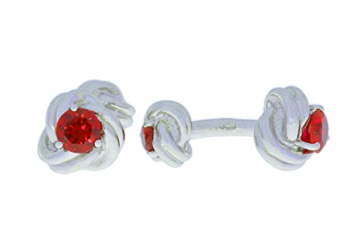 2.5 Ct Garnet Knot Cufflinks .925 Sterling Silver Rhodium Finish [Jewelry]
