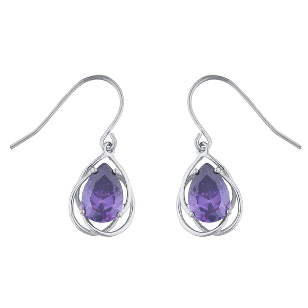 4 Ct Amethyst Pear Teardrop Design Dangle Earrings .925 Sterling Silver