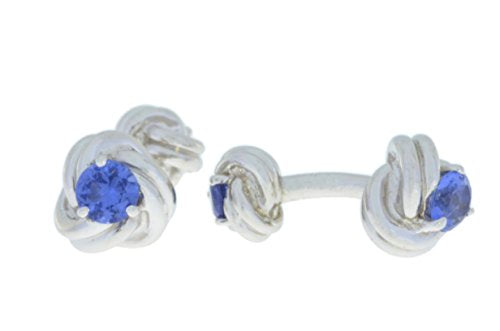 2.5 Ct Tanzanite Knot Cufflinks .925 Sterling Silver Rhodium Finish [Jewelry]