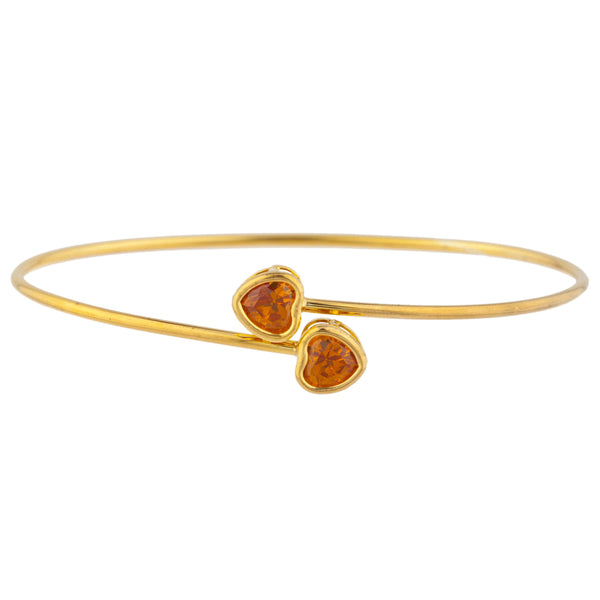 14Kt Yellow Gold Plated Orange Citrine Heart Bezel Bangle Bracelet