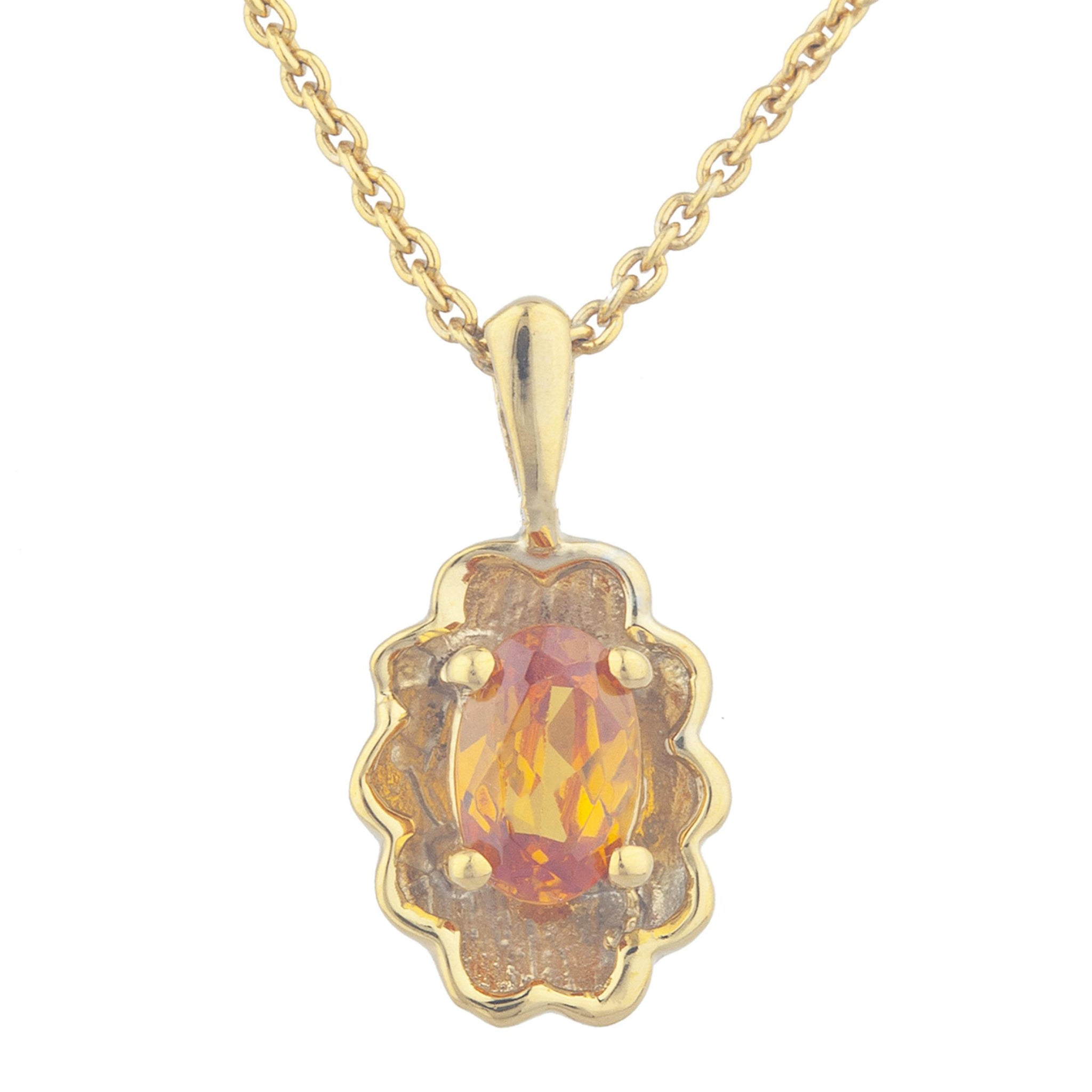 14Kt Yellow Gold Plated Orange Citrine Oval Design Pendant