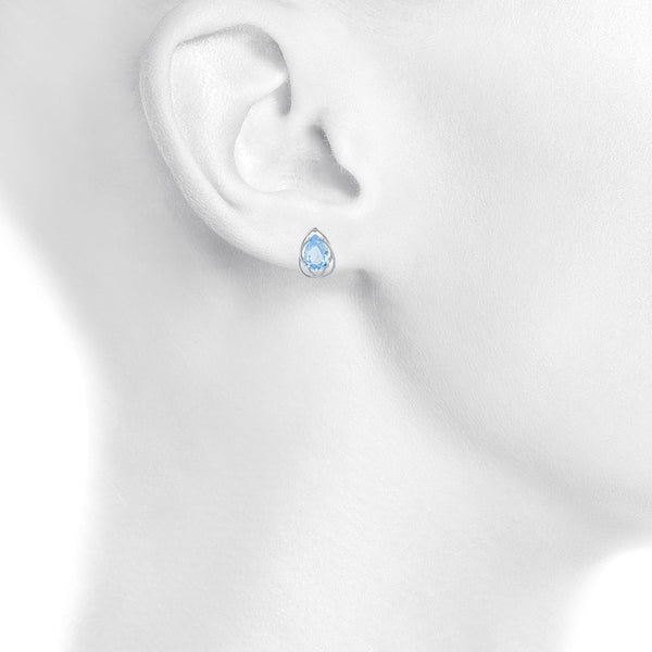4 Ct Blue Topaz Pear Teardrop Design Stud Earrings .925 Sterling Silver
