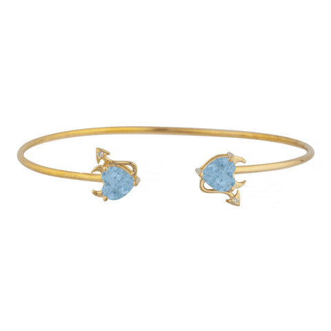 Blue Topaz & Diamond Devil Heart Bangle Bracelet 14Kt Yellow Gold Rose Gold Silver