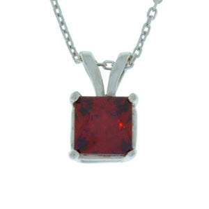 1 Ct Garnet Princess Cut Pendant .925 Sterling Silver Rhodium Finish