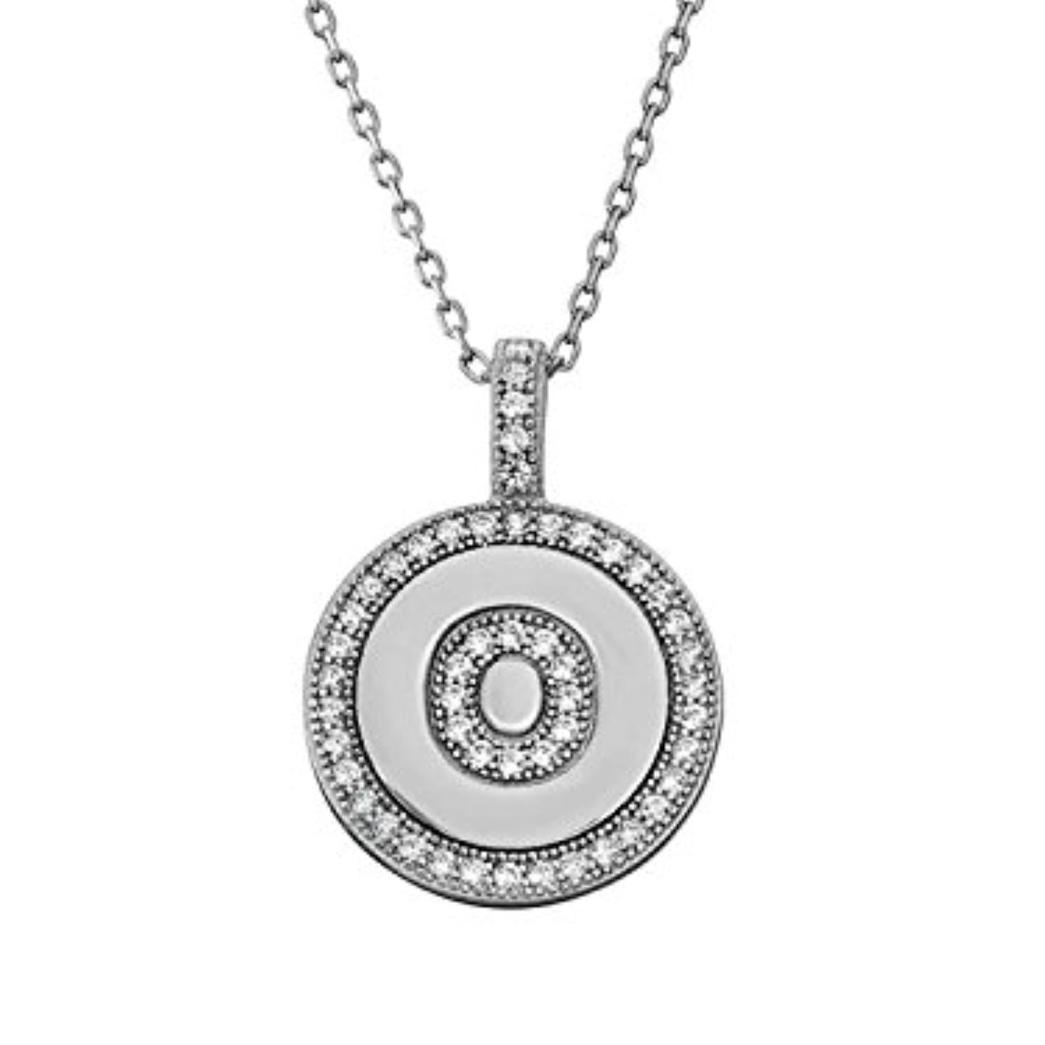 Letter O Micro Pave Initial CZ Pendant .925 Sterling Silver