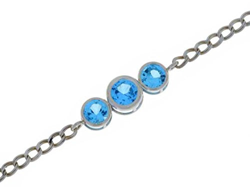 2 Ct Blue Topaz Round Bezel Bracelet .925 Sterling Silver Rhodium Finish