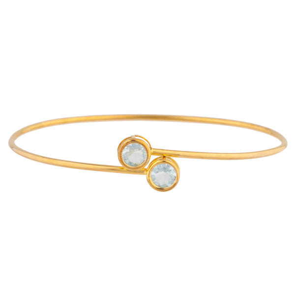 14Kt Yellow Gold Plated Genuine Aquamarine Round Bezel Bangle Bracelet