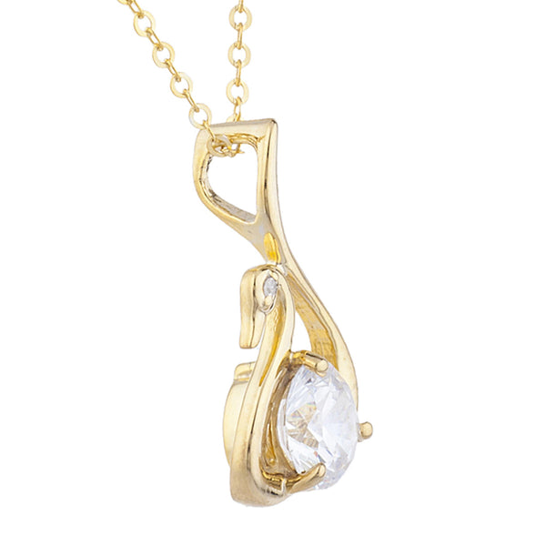 14Kt Yellow Gold Plated Zirconia & Diamond Swan Pendant