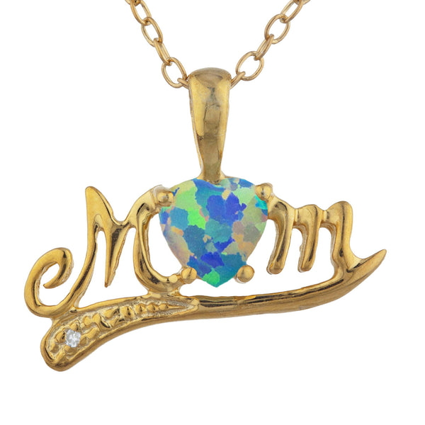 14Kt Yellow Gold Plated Black Opal & Diamond Heart Mom Pendant